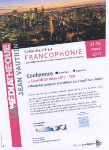 Semaine de la francophonie, médiathèque gradignan 2017 aqaf
