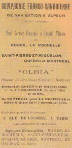 Publicité pour la compagnie franco-canadienne créée en 1893