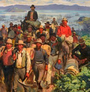 La ruée vers l'or en californie (1848-1854) prend fin entre 1852 et 1854 à mesure que s'épuise l'or de rivière