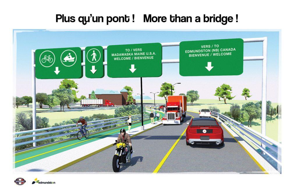 Le futur pont international, d'après la vision des villes sœurs de madawaska et d'edmundston (source https://edmundston. Ca/fr/l-hotel-de-ville/blogue-du-maire)