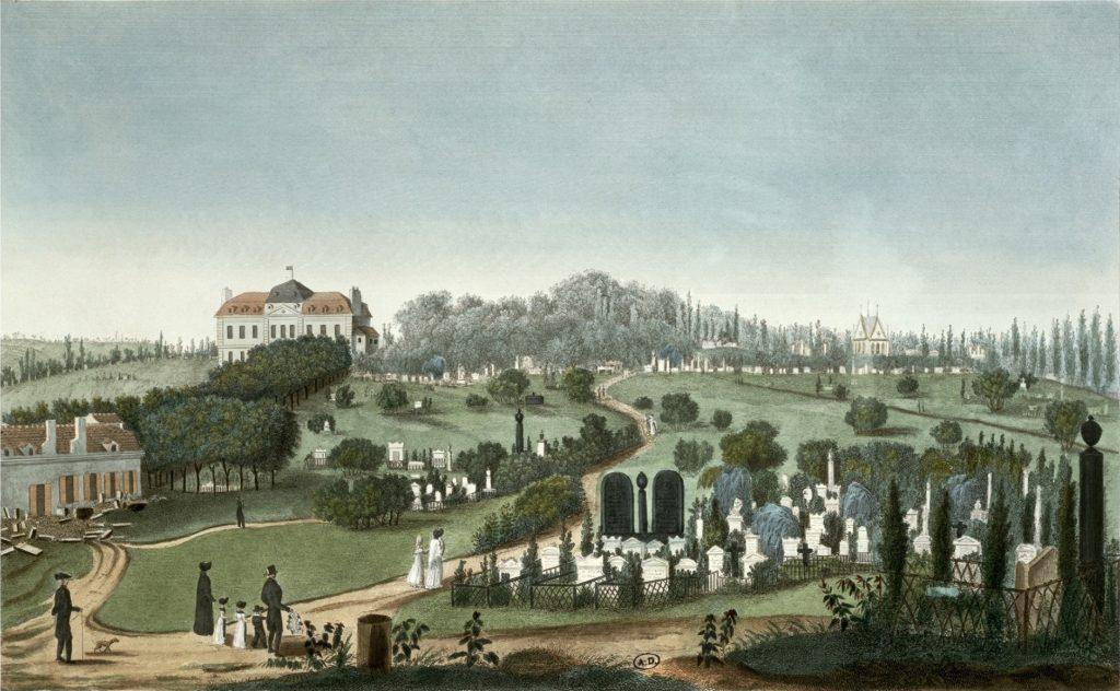 Le cimetière en 1815 d'après pierre courvoisier.