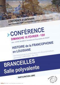 Affiche histoire de la francophonie en louisiane - branceilles aqaf
