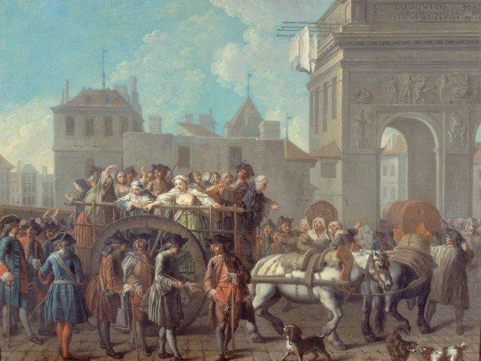 Conduite des filles de joie à la salpêtrière (artiste etienne jeaurat, 1757, collection musée carnavalet, domaine public)